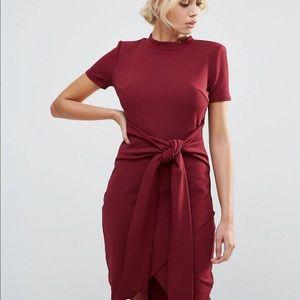 Club L Office Tie Waist Burgundy Short Sleeve Midi